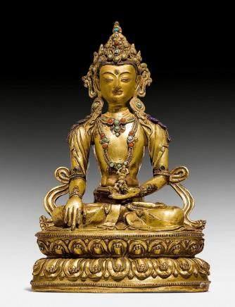 鑄銅鎏金普贤王如来佛像。