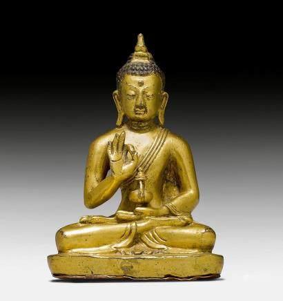 鑄銅鎏金彌勒菩薩像。