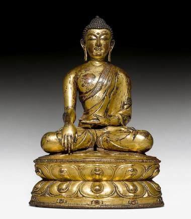 精模造銅鎏金釋迦摩尼佛像。