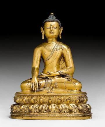銅鎏金持金剛杵佛像。