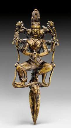罕見的銅鎏金苯教法器匕杵。