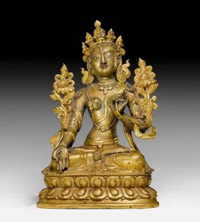 白度母部分鍍金有色銅合金像。