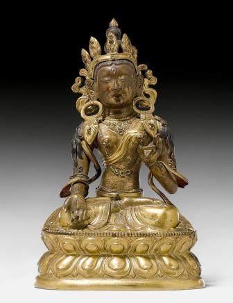 铜鎏金白度母坐像。