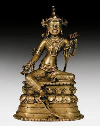 嵌銅銀鑄銅綠度母像。西藏,帕拉風格,13世紀。高15.2釐米。