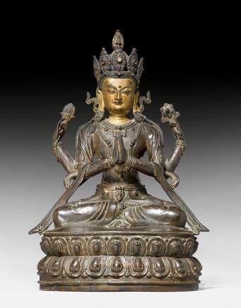 四臂觀音菩薩銅像。