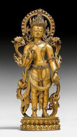精品鑄銅鎏金菩薩立像。