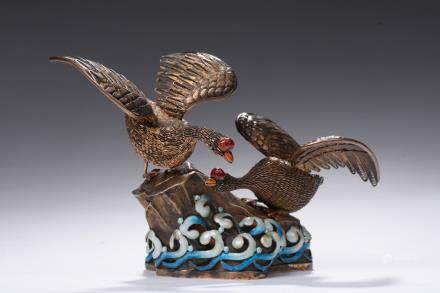 A gilt silver filigree swans group