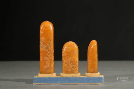 A set of three shoushan 'figures' seals
