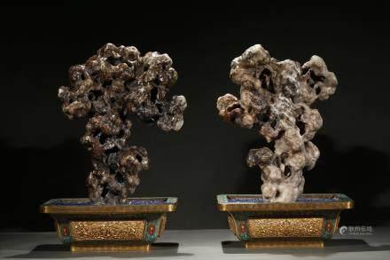 Pair of cloisonne enamel jade boulders jardinieres