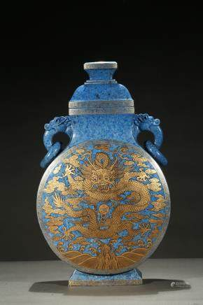 A large lapis lazuli gilt-decorated dragon moonflask vase