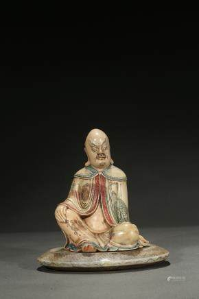 A shoushan polychrome figure of bodhidharma