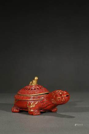 A coral red glazed gilt-painted turtle washer
