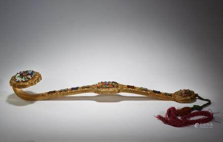 A gilt-bronze gems mother-of-pearl inlaid ruyi scepter