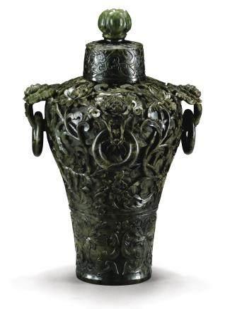 清乾隆 碧玉痕都斯坦式纏枝蓮紋四活環耳梅瓶 連蓋