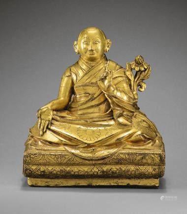十七世紀 西藏 鎏金銅合金第五世達賴喇嘛阿旺羅桑嘉措坐像