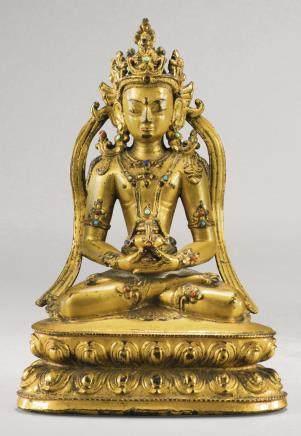 約十四/十五世紀 西藏 鎏金銅合金無量壽佛坐像