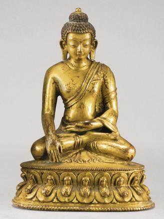 十八世紀 西藏 鎏金銅合金釋迦牟尼佛坐像
