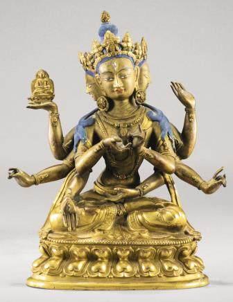 清十八世紀 鎏金銅尊勝佛母坐像