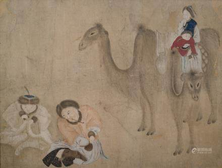 Nomadic Family with Two-humped Camels, China, ca