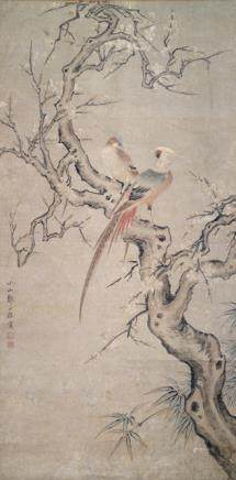Style of Zou Yigui (1686-1772), China, Qing dynasty, Pair of Pheasants on a Flowering Plum Tree