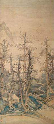 Yu Rong (active around 1765), China, 18th century, Winter Grove with Scholar's Study
