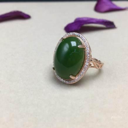 HETIAN GREEN JADE RING