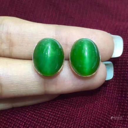 PAIR OF 18K HETIAN GREEN JADE EARRINGS
