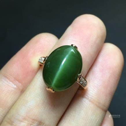 18K HETIAN GREEN JADE RING