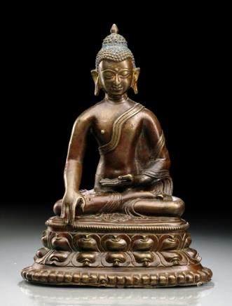 A BRONZE FIGURE OF BUDDHA SHAKYAMUNI, TIBET, 15th ct