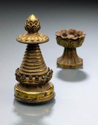 A BRONZE STUPA SPIRE, Tibet, ca