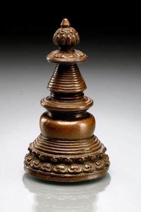 A COPPER STUPA, Tibet, ca