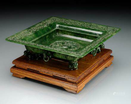 A SQUARE SPINACH-GREEN JADE BOWL