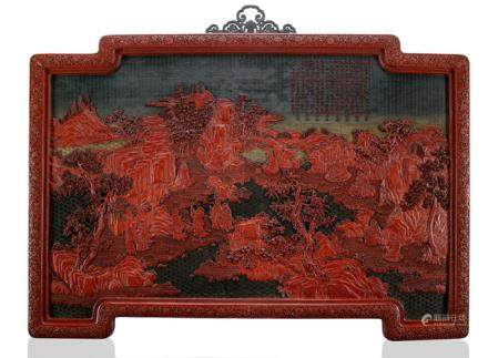 A SUPERB AND VERY RARE IMPERIAL THREE-COLOUR CINNABAR LACQUER PANEL WITH EIGHT OF THE SIXTEEN LUOHAN WITH IMPERIAL INSCRIPTION