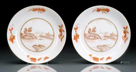A PAIR OF SMALL IRON RED GLAZED PLATES