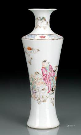 A SMALL VASE DECORATED WITH ZHONG KUI RIDING A DONKEY WITH A DEMON