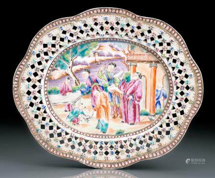 AN UNUSUAL FAMILLE ROSE PLATE WITH PIERCED BLOSSOM BORDER