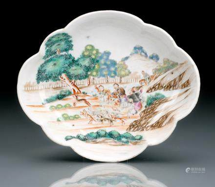 A FAMILLE ROSE HUNTING SCENE DECORATED PORCELAIN BOWL