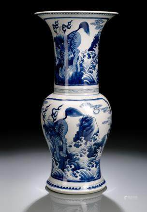 BLUE AND WHITE YAN-YAN VASE