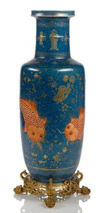 A POWDER BLUE AND GILT PAINTED ROULEAU VASE ON ORMOLU STAND