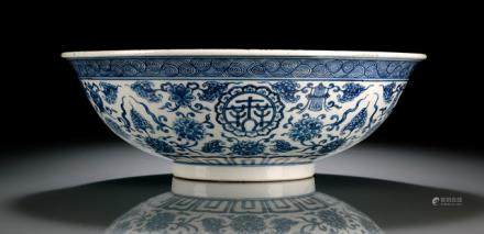 A BLUE AND WHITE BUDDHIST EMBLEM BOWL