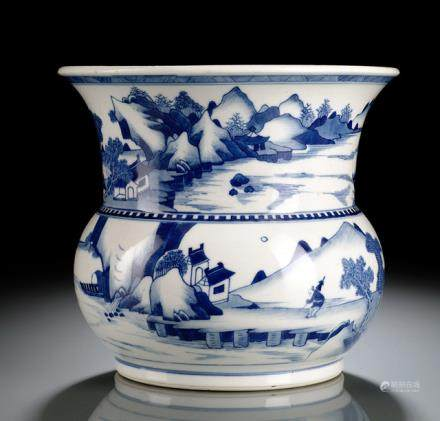 A BLUE AND WHITE PORCELAIN SPITTOON WITH SEA LANDSCAPE