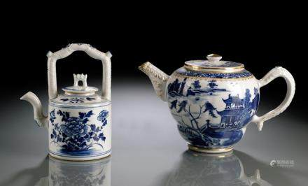 TWO BLUE AND WHITE PORCELAIN TEAPOTS AND COVERS