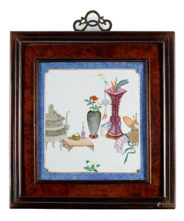 THREE FRAMED PORCELAIN PLATES WITH ANTIQUITIES