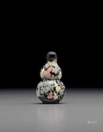 黑色料胎畫琺瑯彩葫蘆形鼻煙壺