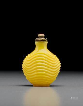 黃料波紋鼻煙壺