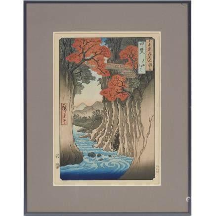"Utagawa Hiroshige (1797-1858), View Of Kai Province, length 13.8"" — 35 cm."