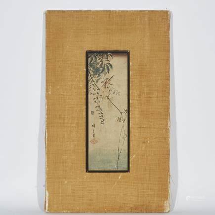 "Utagawa Hiroshige (1797-1858), Birds, length 13.6"" — 34.5 cm."