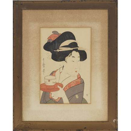 "After Kitagawa Utamaro (1753-1806), 11.8"" x 8.1"" — 30 x 20.5 cm."