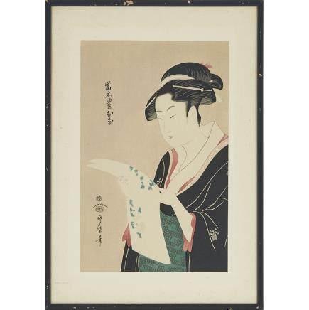 "After Kitagawa Utamaro (1753-1806), 14.6"" x 9.4"" — 37 x 24 cm."