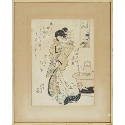 "Keisai Eisen (1790-1848), Beauty, 14.4"" x 10.4"" — 36.5 x 26.5 cm."